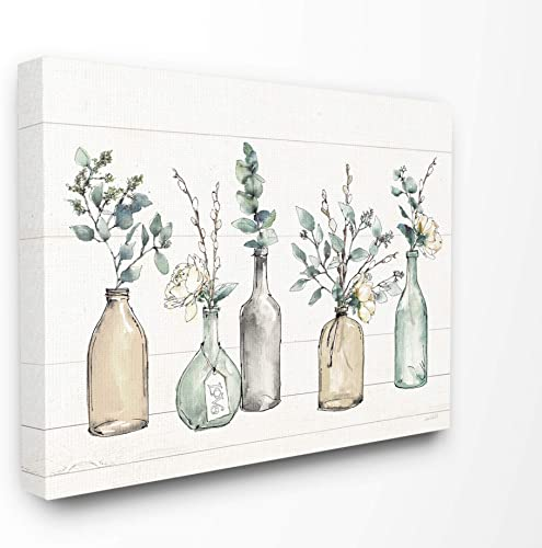 Stupell Industries Bottles and Plants Farm Wood Textured Canvas Wall Art
