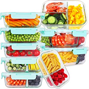 Bayco 9 Pack Glass Meal Prep Containers 3 & 2 & 1 Compartment, Glass Food Storage Containers with Lids, Airtight Glass Lunch Bento Boxes, BPA-Free & Leak Proof (9 lids & 9 Containers)
