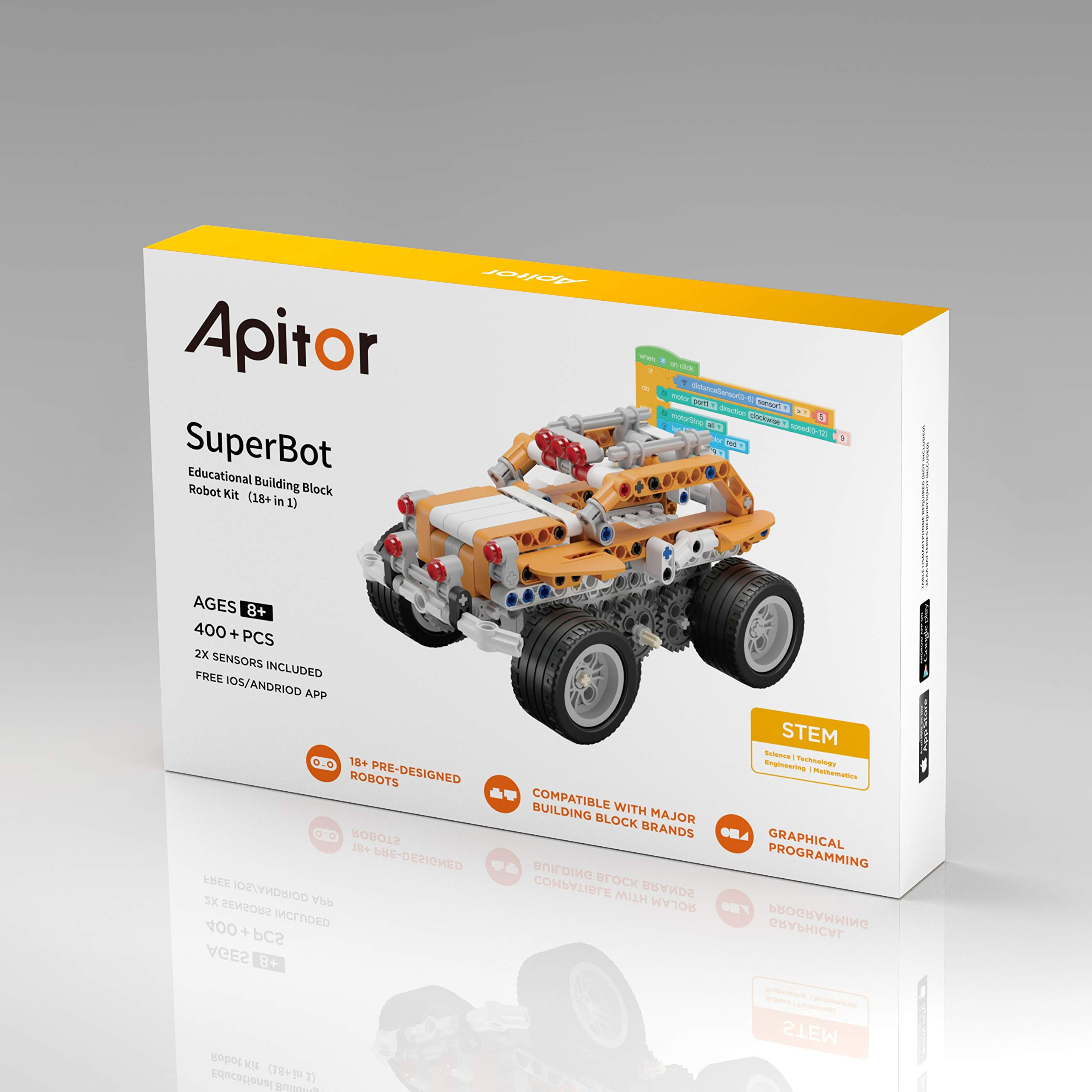Apitor SuperBot, Educational Building Block 18 in 1 Robot Kit, APP Remote Control, STEM Coding Learning Toy, Ideal Gift for Kids 8+, Compatible with Major Building Block Toys (400+ Pieces) by Apitor Technology Co., Ltd. (Image #8)