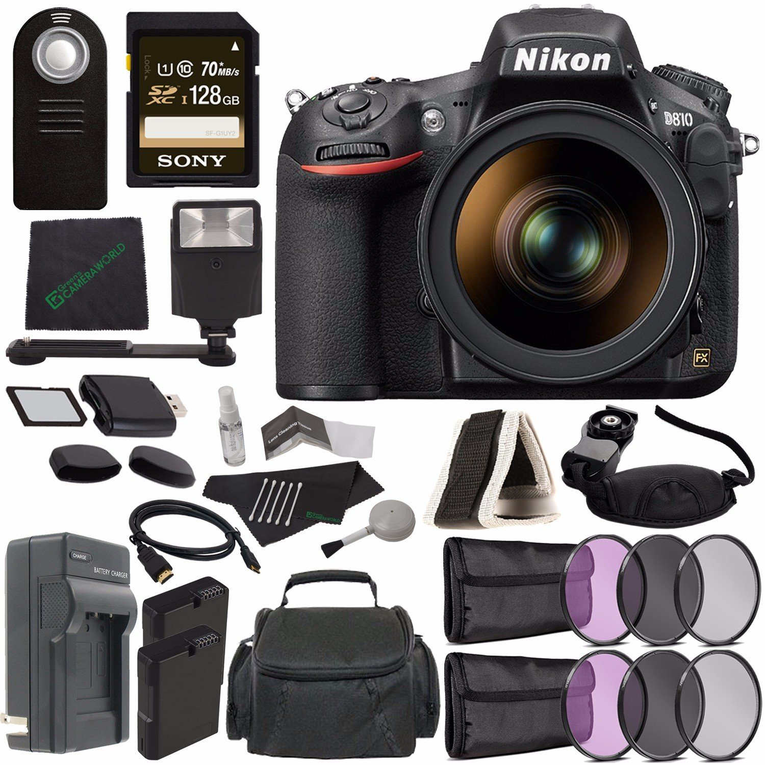 Nikon D810 DSLR Camera with 24-120mm Lens + Rechargable Li-Ion Battery + External Charger + Sony 128GB SDXC Card + HDMI Cable + Remote + Memory Card Wallet + Memory Card Reader + Flash Bundle
