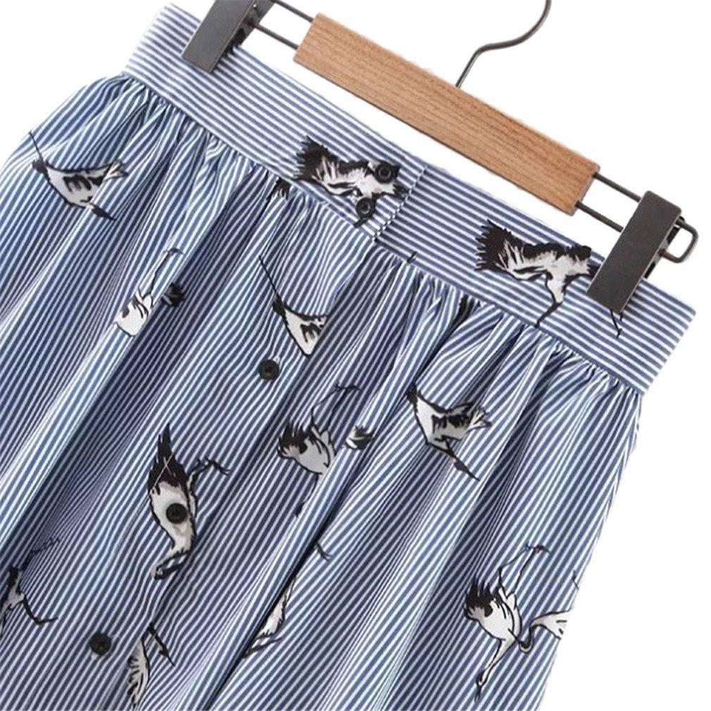Hippeuca Women Sweet Birds Print Mid-Calf Striped Skirts Open Stitch Buttons Design Summer Casual Streetwear Skirts
