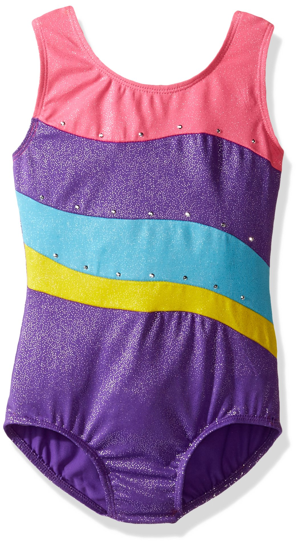Jacques Moret Little Girls' Gymnastics Printed Leotard, Purple Shock Combo, Small