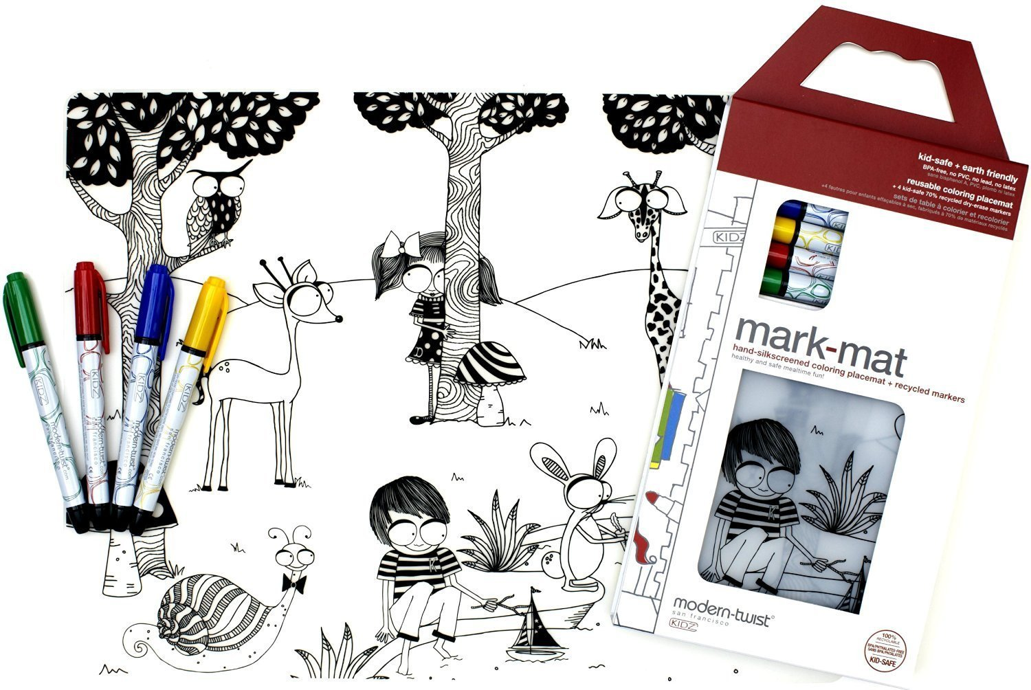 OKSLO Kids mark-mat silicone coloring placemat with 4 dry-erase markers, day at the po