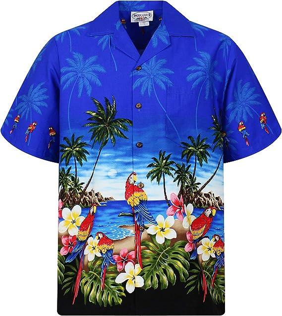 Pacific Legend | Original Camisa Hawaiana | Caballeros | S - 4XL | Manga Corta | Bolsillo Delantero | Estampado Hawaiano | Loros | Azul: Amazon.es: Ropa y accesorios