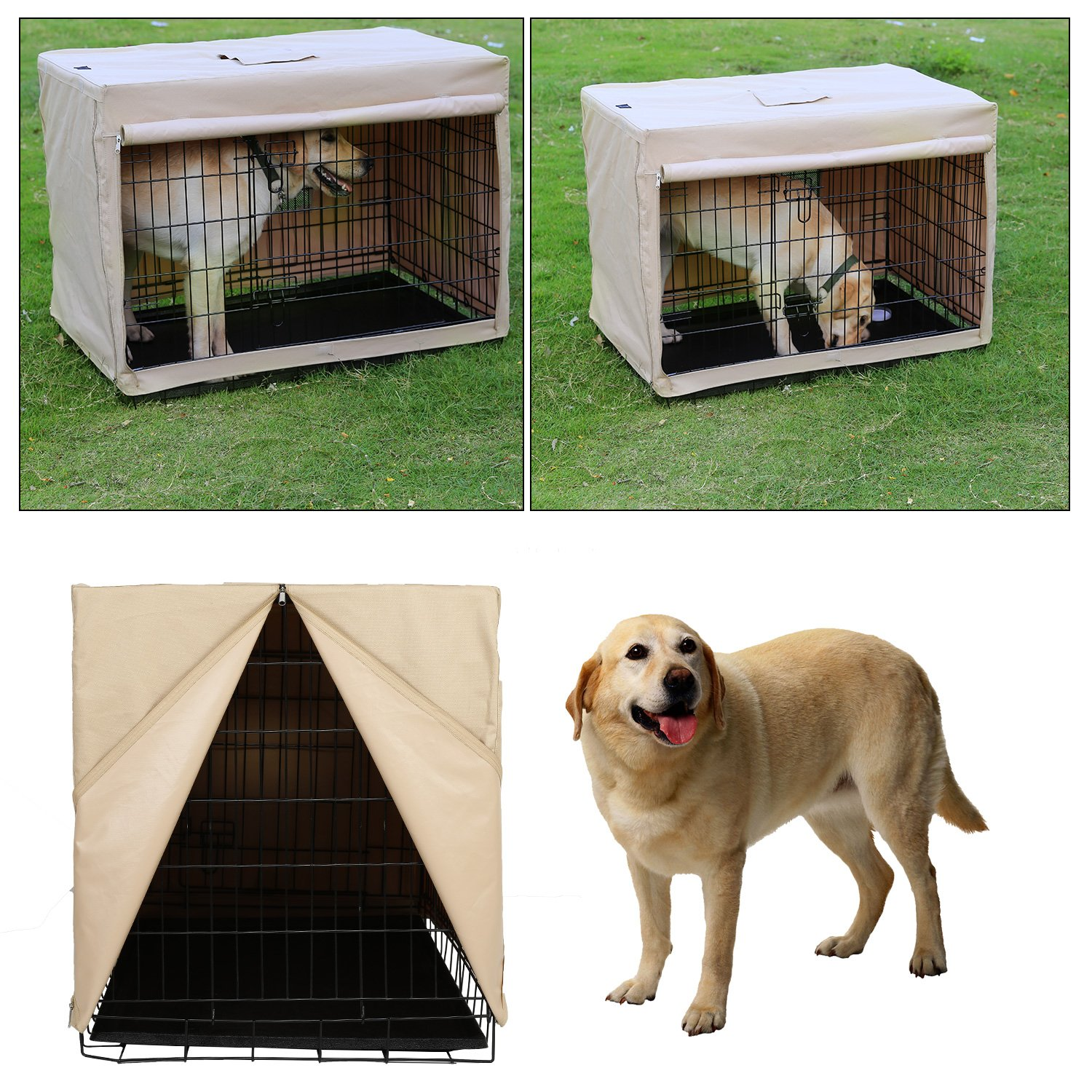 X-ZONE PET Indoor/Outdoor Dog Crate Cover, Polyester Crate Cover or Durable Windproof Kennel Covers for Wire dog Crates (30-Inch) by X-ZONE PET (Image #6)
