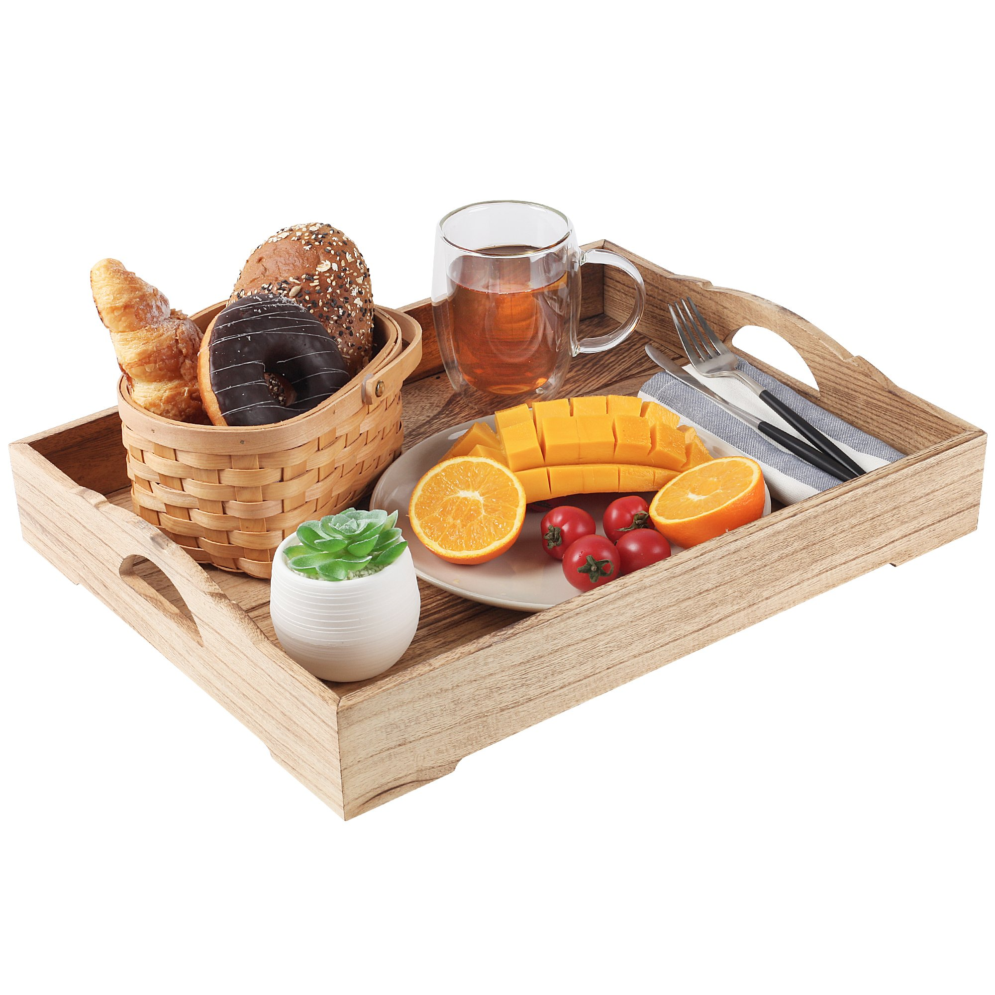 Wood Serving Tray – Suitable for use as an Ottoman Tray, Breakfast in Bed Tray and Home Décor Style Piece – Easy to Carry Handles – 18 x 14 inches – Natural Wood + FREE Home Décor eBook by lifetoenjoy (Image #9)