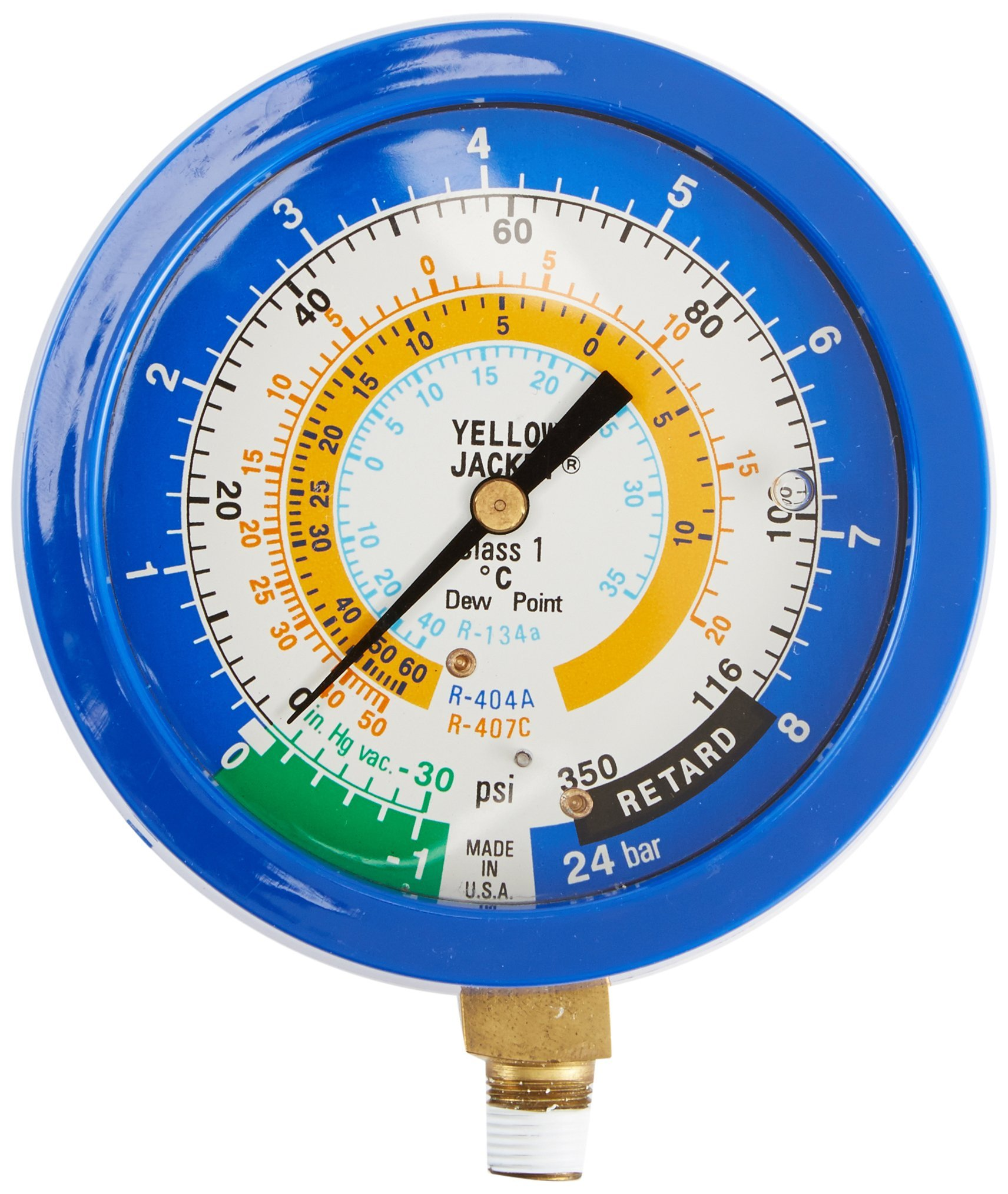 Yellow Jacket 49522 3-1/2'' Liquid-Filled Gauge (Degrees C) Blue Compound Manifold, 30''-0-116 psi, R-134A/404A/407C