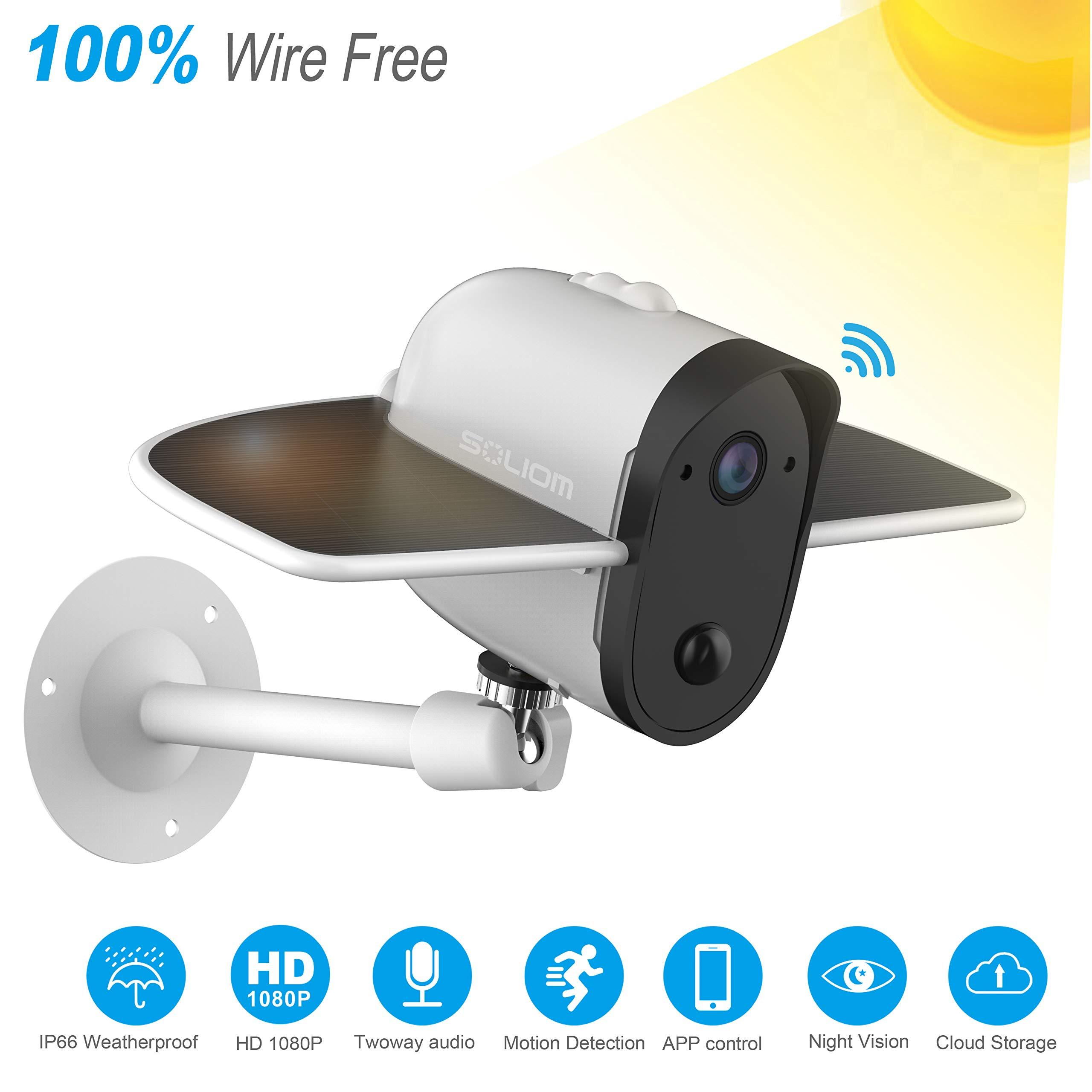 Wireless IP Outdoor Solar Camera, SOLIOM 1080p Wireless Security Camera with Built-in 4000Mah Battery and Solar Panel for Easy Outdoor Surveillance by SOLIOM