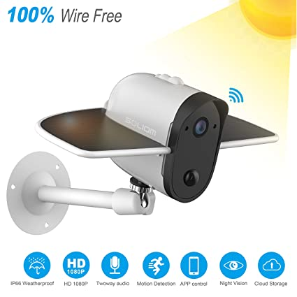Amazon.com: Wireless IP Outdoor Solar Camera, Soliom 1080p Wireless Security Camera with Built-in 4000Mah Battery and Solar Panel for Easy Outdoor ...