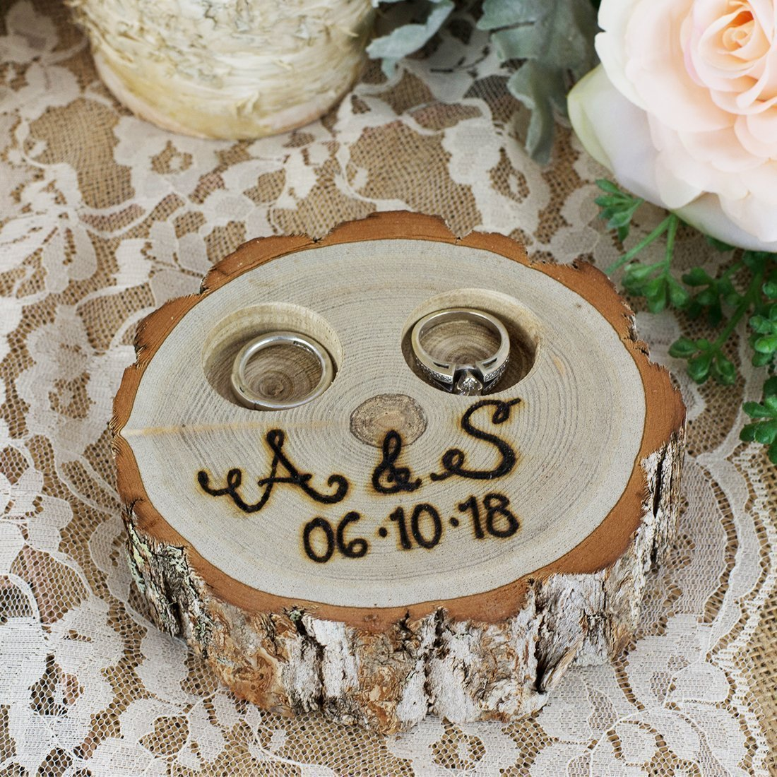 Personalized Rustic Tree Stump Ring Bearer Pillow Box - Initials and Date