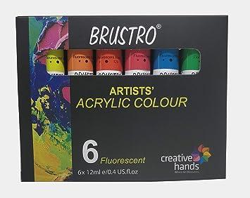 8a64c21626cb BRUSTRO Artists  Acrylic Colour Set of 6 Fluorescent Colours X 12ML Tubes