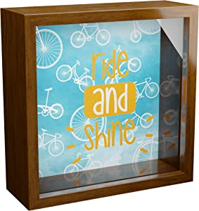 Bicycle Wall Decor | 6x6x2 Memorabilia Shadow Box | Decorative Bike Gifts | Cycling Themed Keepsake | Wooden Memory Box for Cyclist | Special Home Decorations for Cyclists