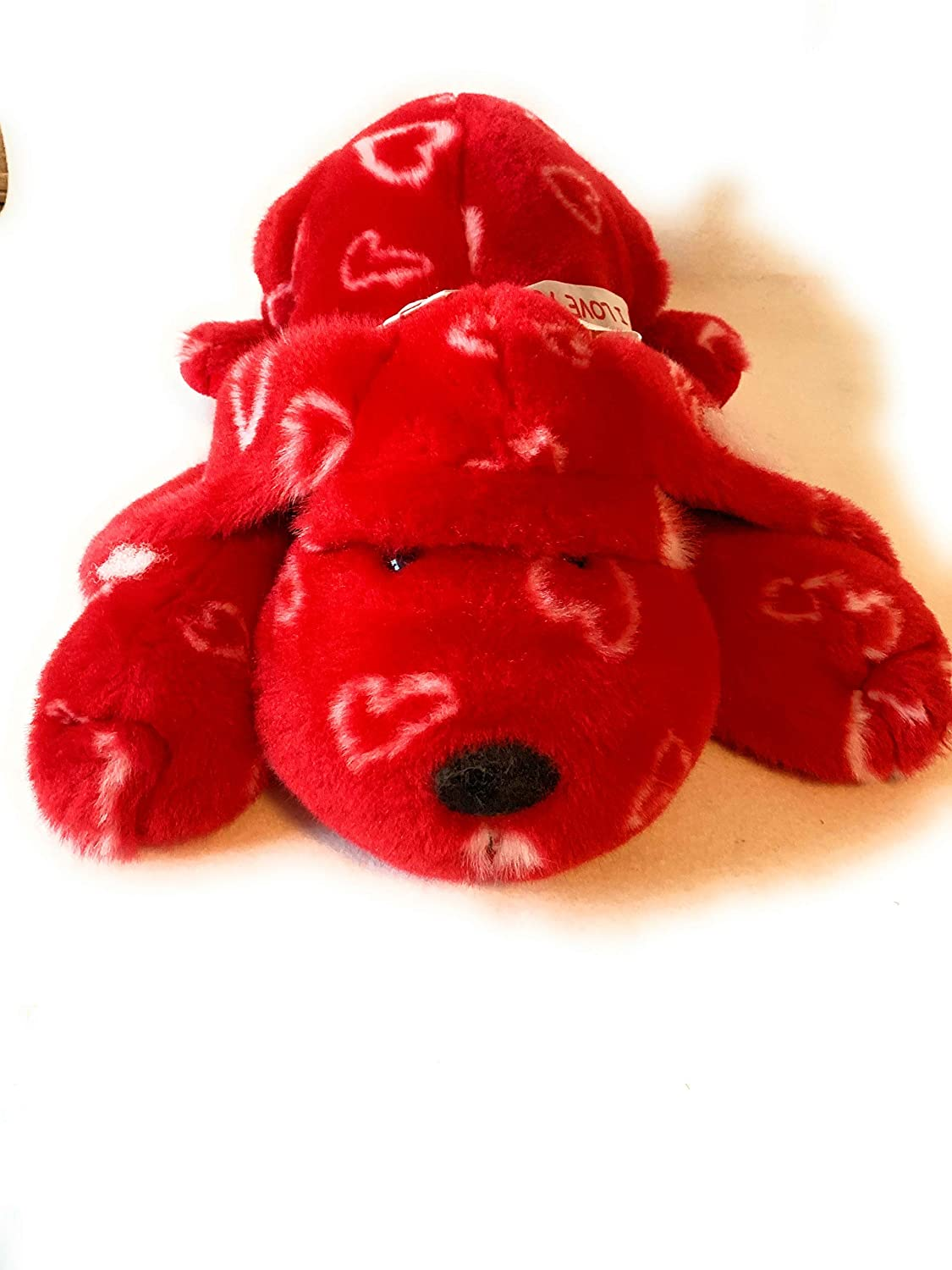 washable weighted buddy Large weighted stuffed animal weighted red dog with hearts and 5 lbs