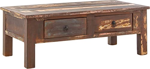 Timbergirl Reclaimed Wood Double Drawers 43 coffee table