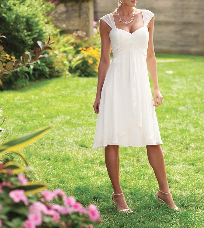 YASIOU Brautkleid Damen Kurz Weiß Chiffon Herzausschnitt A Linie ...