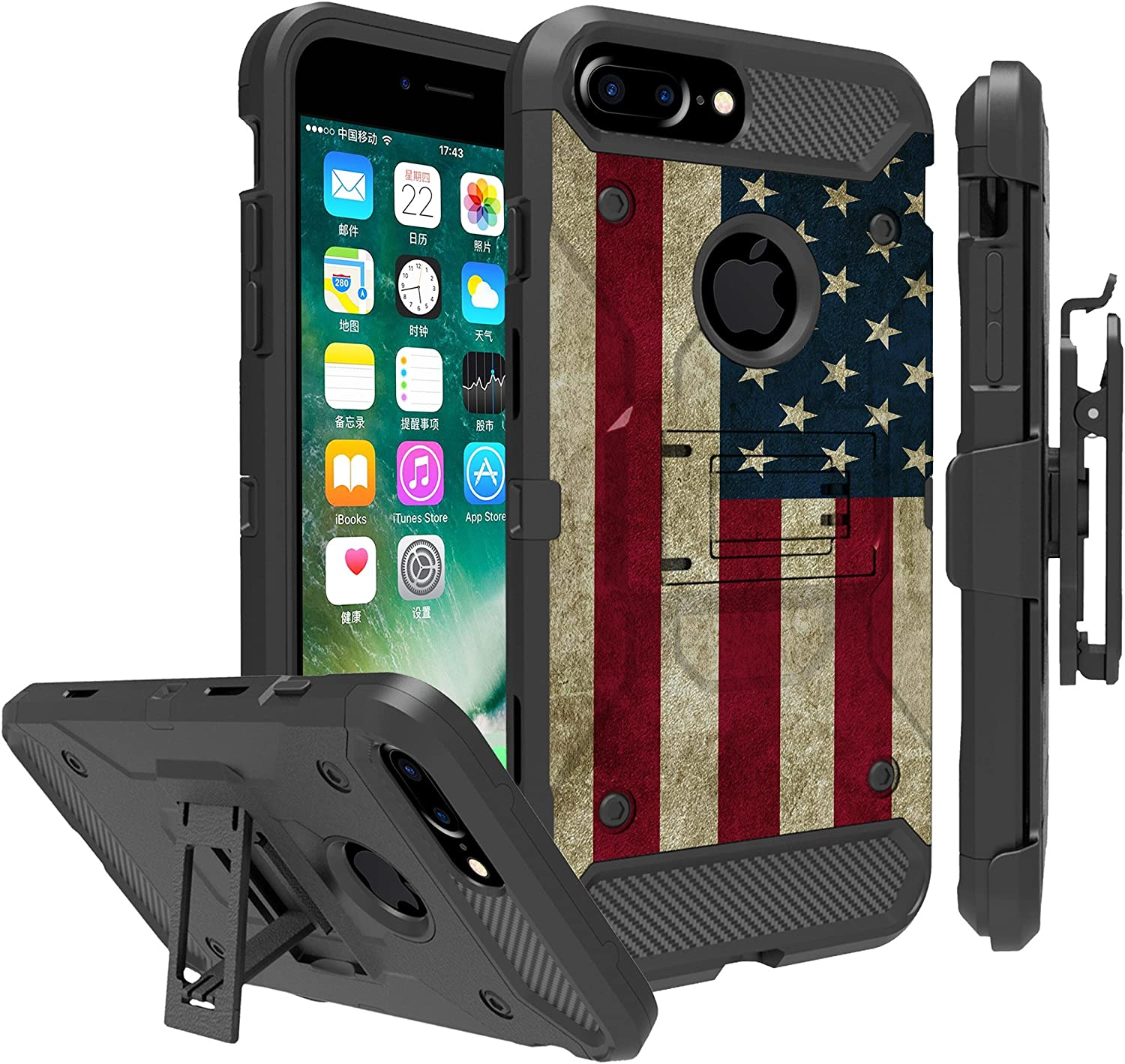Untouchble Case for Apple iPhone 6 Plus, iPhone 7 Plus, iPhone 8 Plus Case Holster Case [TANK SERIES] Built Tough Triple Protection Inner TPU Hard Exterior Shell Belt Clip - Vintage American Flag