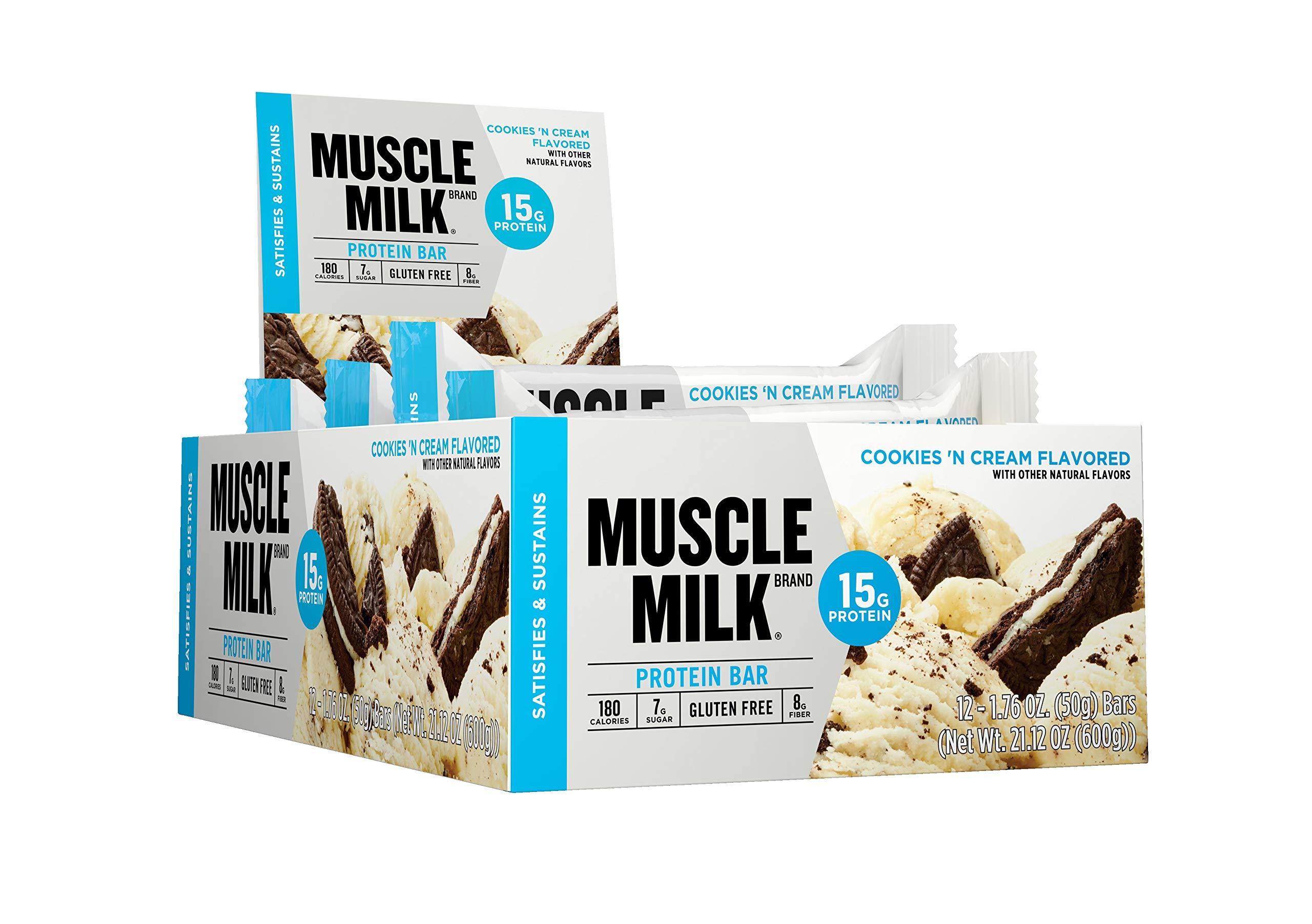 Muscle Milk Protein Bar Cookies N Cream 15g 12 Count