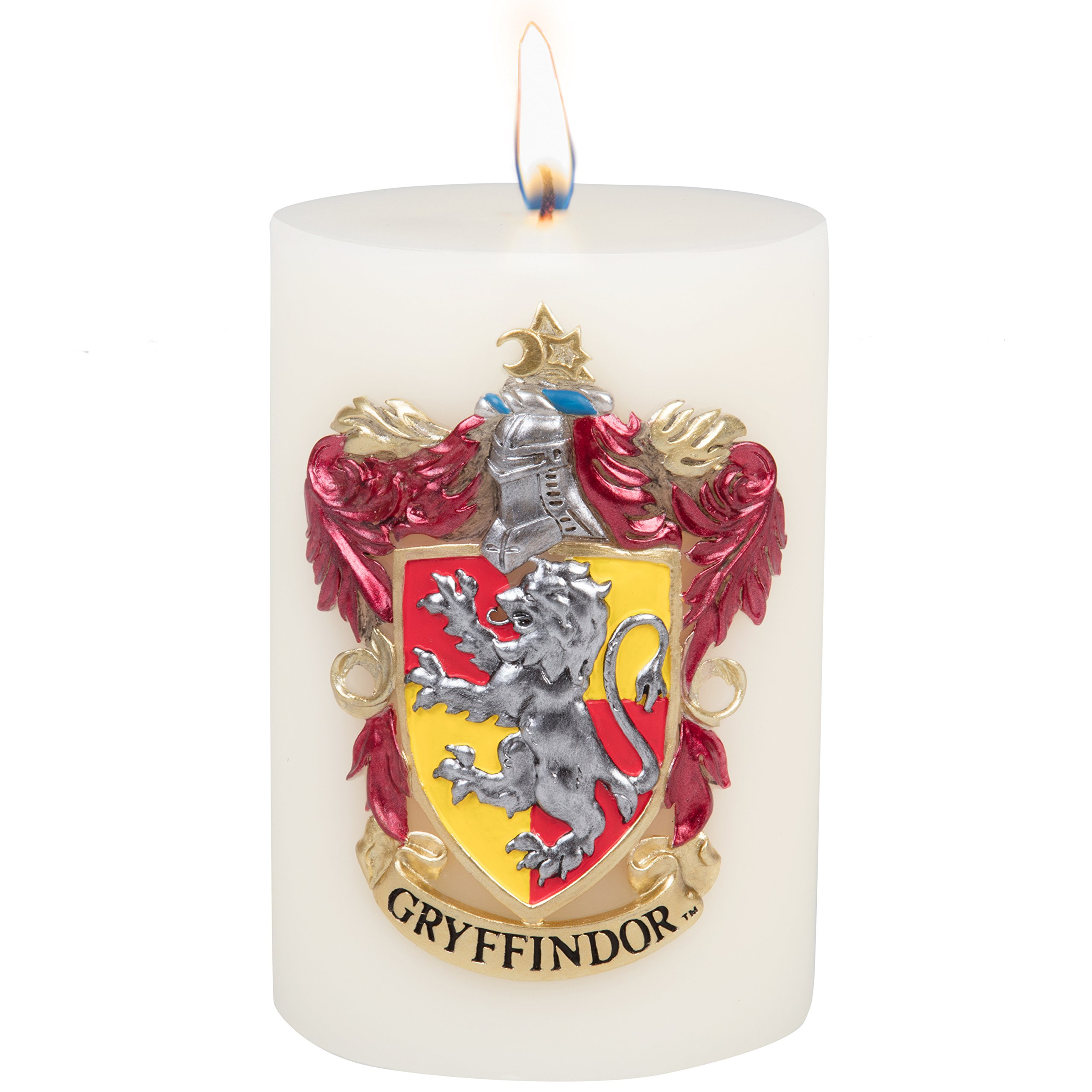 Harry Potter Candle - Gryffindor Insignia Sculpted Wax Pillar Candle - Reusable With 80 Hour Burn Time - Magical Gift For Gryffindor Students & Fans - Unscented - 6''h
