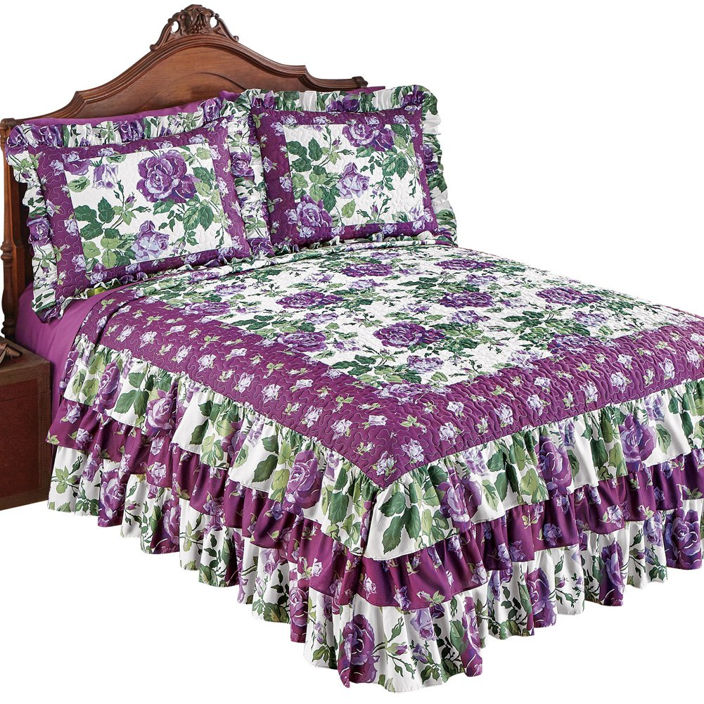 Collections Etc Roseland Ruffled Bedspread with Purple Roses and Fresh Green Floral Pattern, Purple Floral, Queen