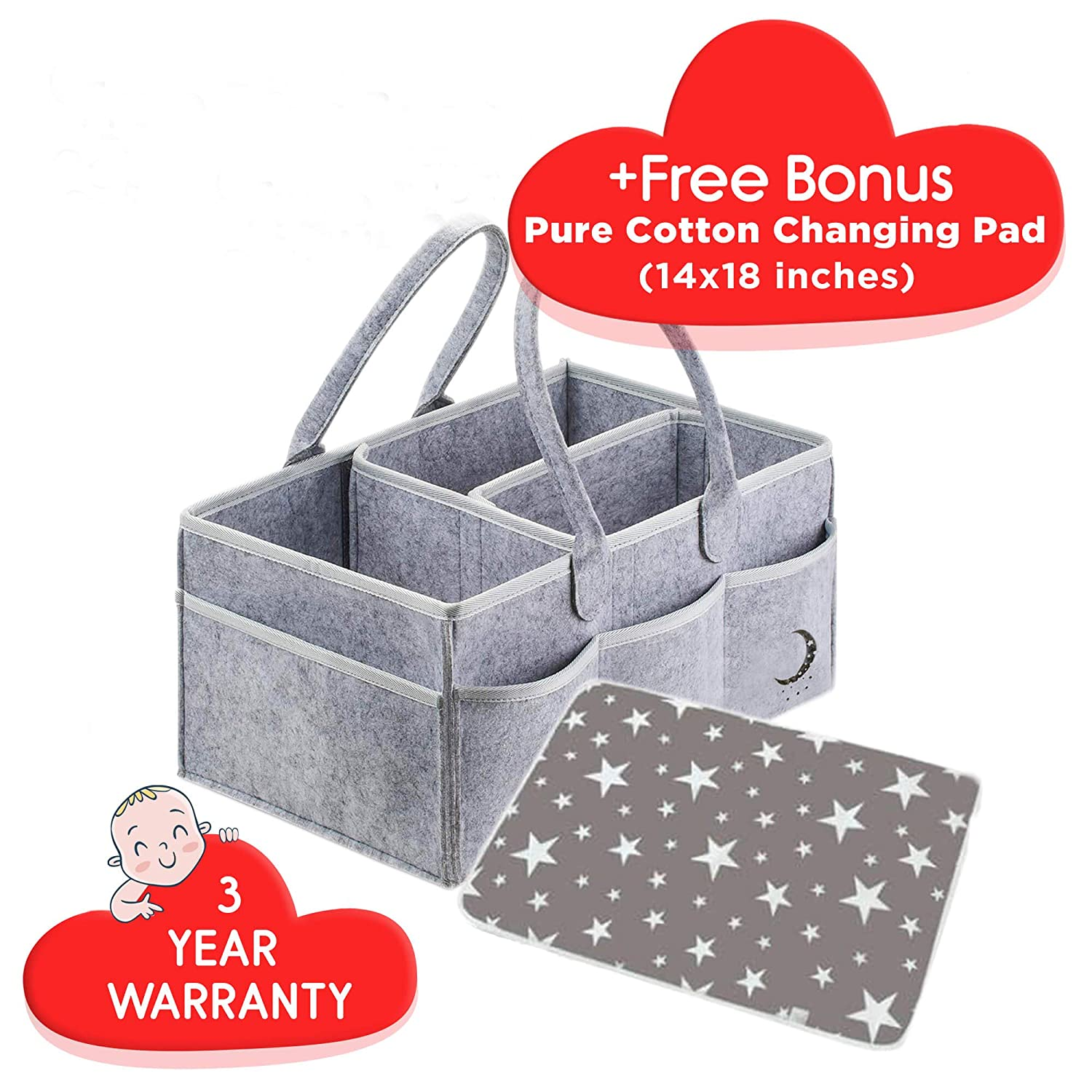 Nursery Essentials Storage Bins Gifts with Changing Pad,Newborn Registry for Baby Shower Portable Holder Bag for Changing Table and Car Barcan Baby Diaper Caddy Organizer