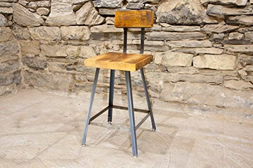 The Brewster Bar Stool and Counter Stool from Reclaimed Wood with Industrial Base and Back Rest