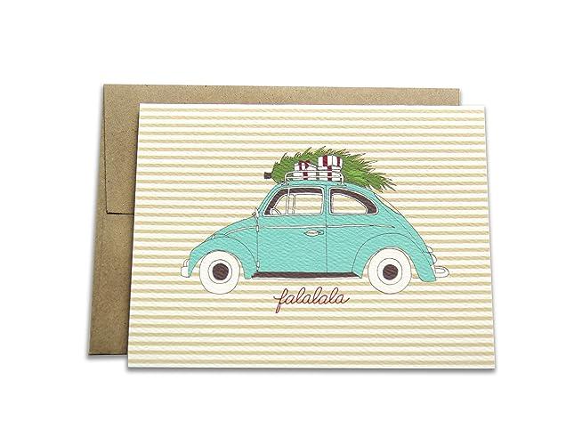 Amazon 8 holiday greeting cards set falala vintage car with 8 holiday greeting cards set falala vintage car with christmas tree m4hsunfo