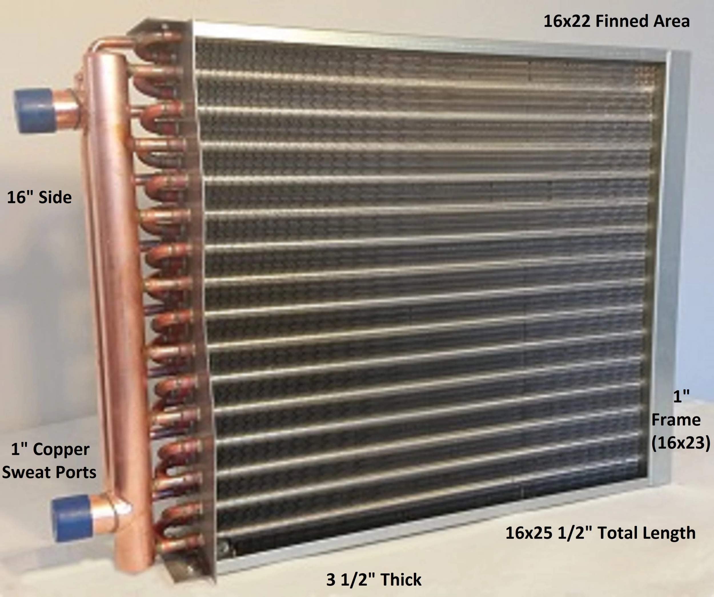 16x22 Water to Air Heat Exchanger~1'' Copper Ports w/EZ Install Front Flange