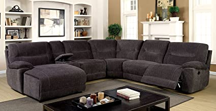 Superbe Esofastore Contemporary Sectional Sofa Recliner Chair Console Push Back  Chaise Comfort Gray Chenille Fabric Living Room