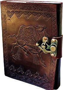 PRASTARA Handmade Leather Journal Embossed Diary for Men Women Gift Travel Office Journal 5 x 7 Inches
