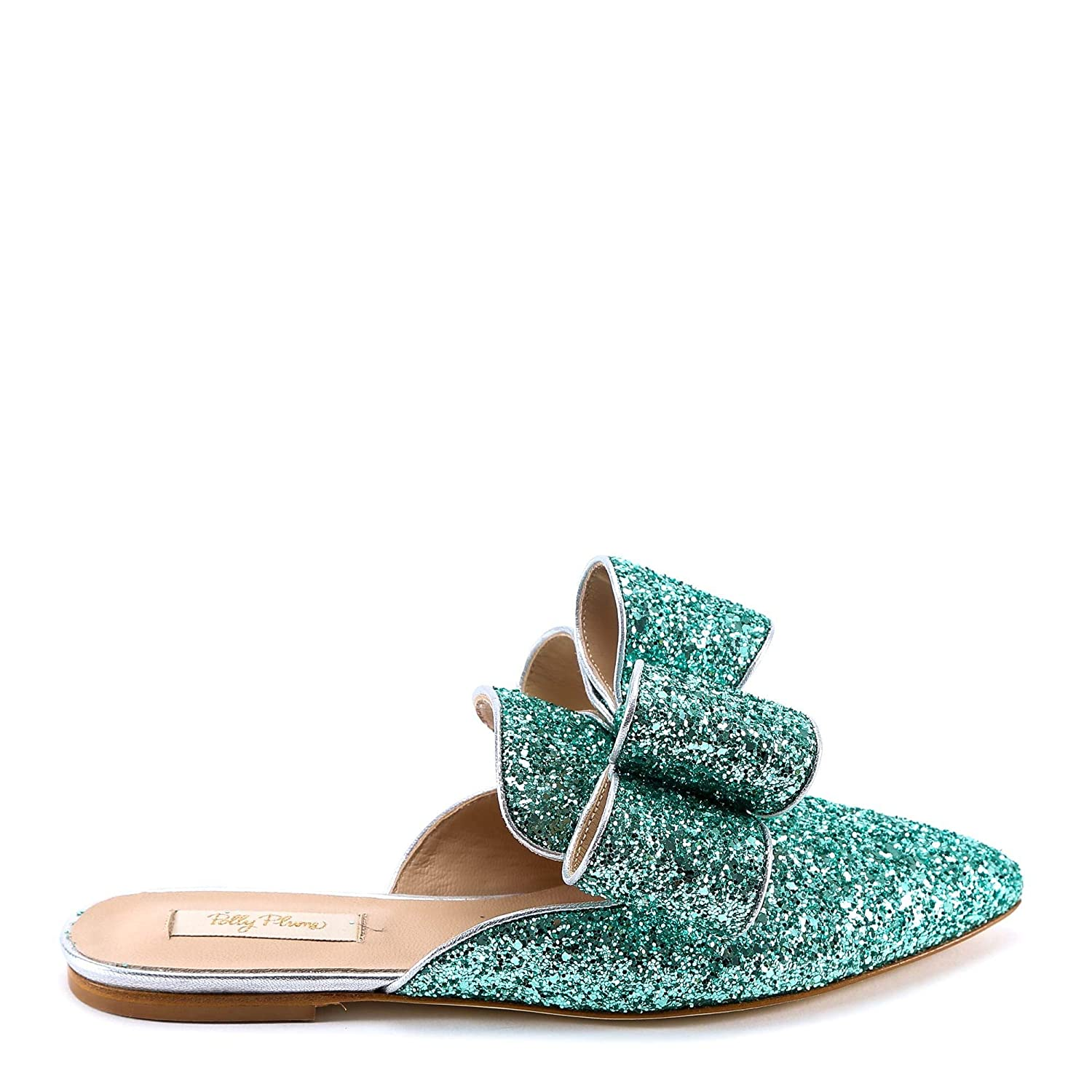 - POLLY PLUME Women's BONNIEBOWWANNABEMINT Green Leather Loafers