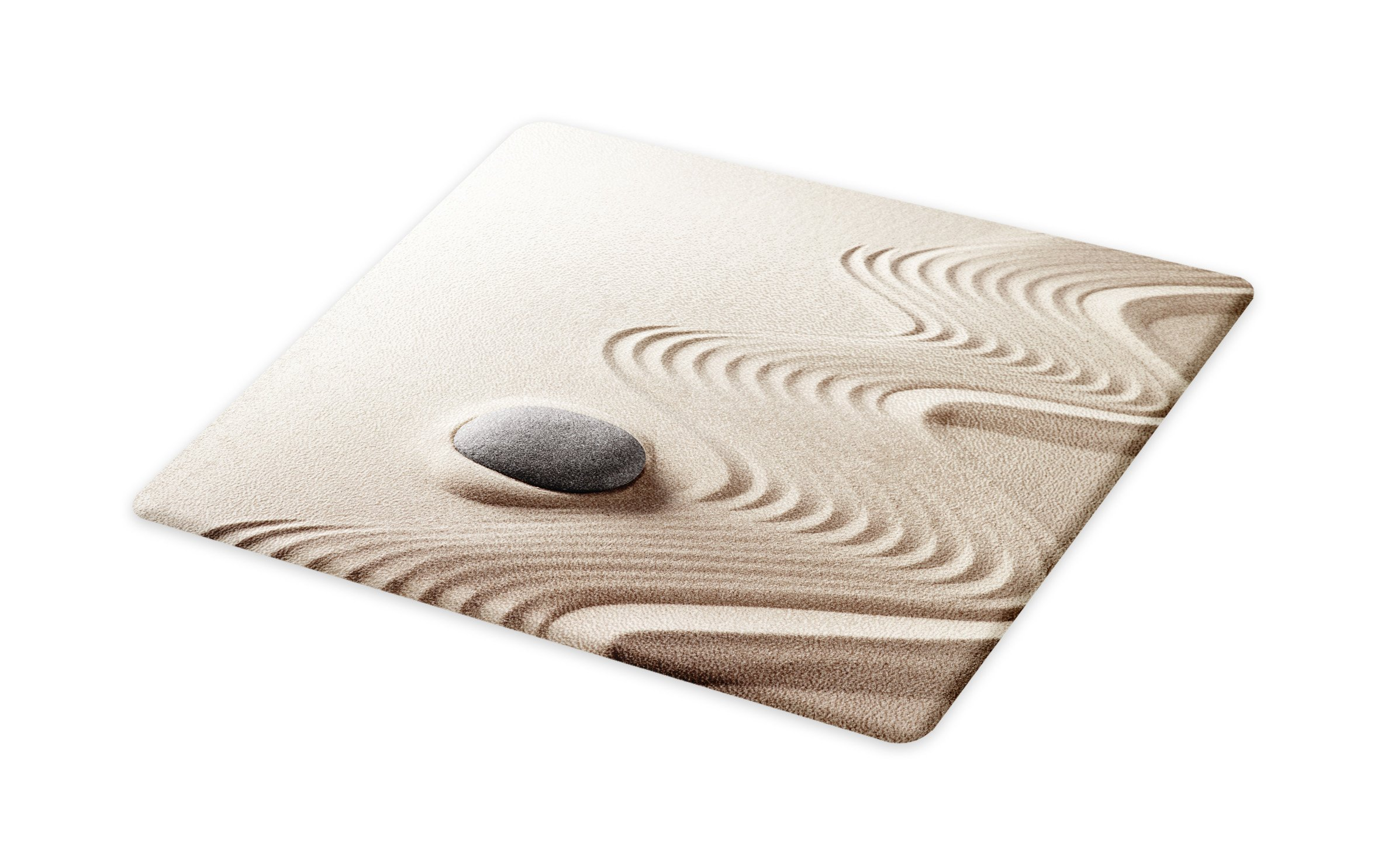 Lunarable Spa Cutting Board, The Caribbean White Sand in Shaped Like Waves Near a Grey Zen Stones Work of Art, Decorative Tempered Glass Cutting and Serving Board, Large Size, Green and White