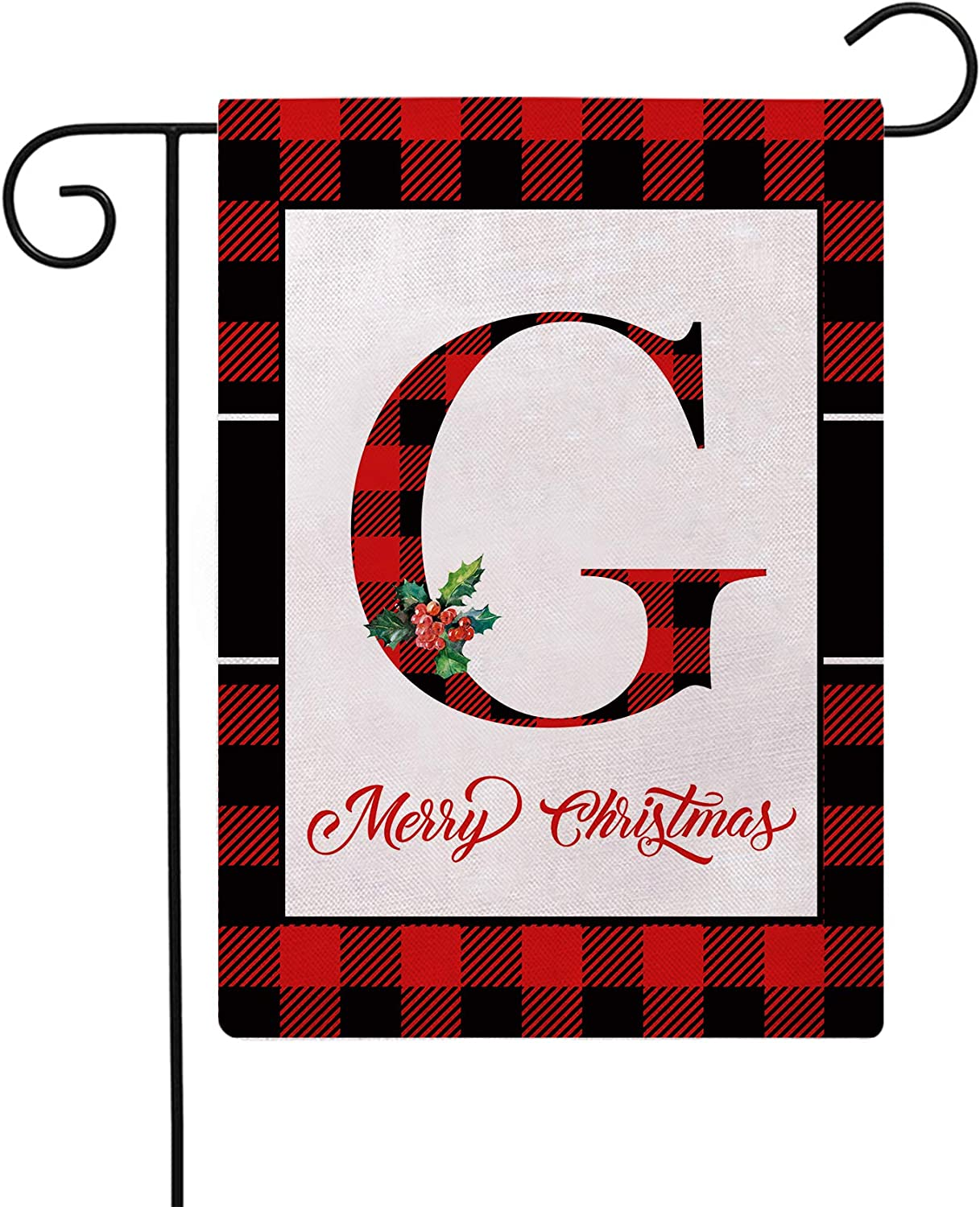 Christmas Plaid Decorative Garden Flags with Monogram Letter G Double Sided Farmhouse Red/Black Buffalo Plaid Winter Holiday Outdoor Garden Flags 12.5×18 Inch for House Garden Yard Patio Decor (G)