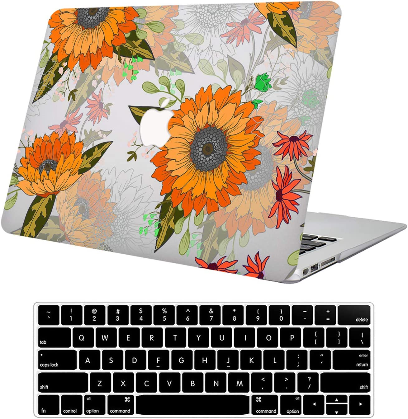 """DTangLsm MacBook Pro 13 Inch Case 2015 2014 2013 end 2012 Model A1425/A1502 Laptop Protective Case 3D Effect Matte See Through Hard Plastic Shell Case & Keyboard Cover for Mac Pro 13"""" Retina, Flower"""