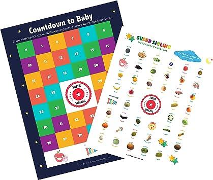 Super Sibling Calendario de Cuenta atrás para bebé con Pegatinas de Tabla de Crecimiento: Amazon.es: Juguetes y juegos