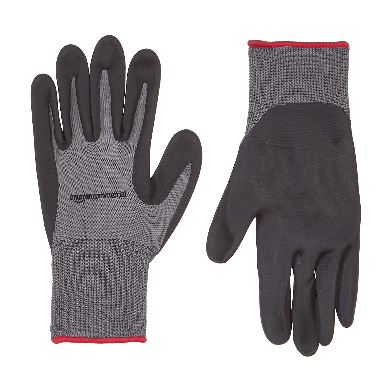 AmazonCommercial 13G Nylon & Foam Nitrile Gloves (Grey/Black), Size S, 3 Pairs