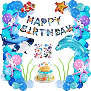 XDDIAS Boys Girls Ocean Themed Birthday Party Decorations, Under The Sea Party Supplies, Marine Animals Balloon with Happy Birthday Banners Decor for 1st Kids Baby Shower