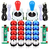 Fosiya LED Arcade Joystick Buttons Kit Ellipse Oval Style 8 Ways Joystick + 20 x LED Arcade Buttons for 2 Player Video Games Standard Controllers All Windows PC MAME Raspberry Pi (Red + Blue Kits) (Color: Red + Blue Kits)