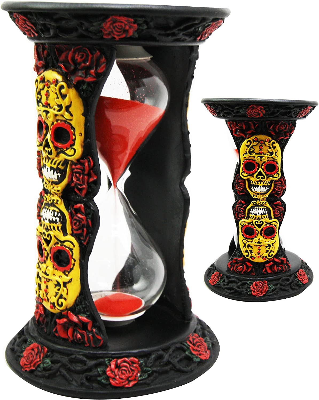 Ebros DOD Dias De Muertos Tribal Tattoo Yellow Sugar Skulls with Red Roses Black Sand Timer Skeleton Figurine Halloween Home Decor Accent Sandtimer As Ossuary Macabre Decorative 3D Sculpture of Skull
