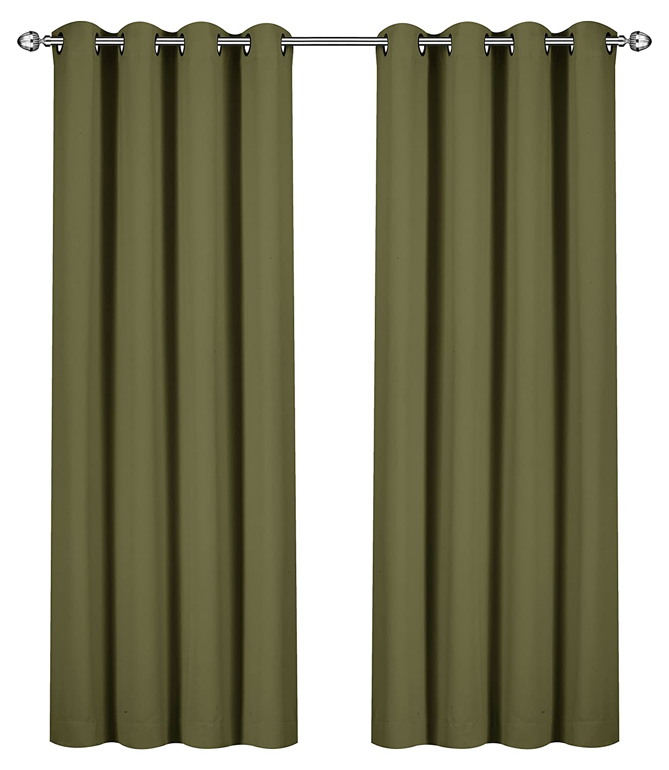 Blackout, Room Darkening Curtains Window Panel Drapes - (Beige Color) 2 Panel Set, 52 inch wide by 84 inch long each panel- by Utopia Bedding UB0116