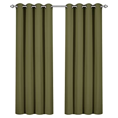 Utopia Bedding Blackout Room Darkening and Thermal Insulating Window Curtains/Panels/Drapes - 2 Panels Set - 8 Grommets per Panel - 2 Tie Backs Included (Olive, 52 x 84 with Grommets)