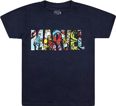 Marvel Logo Characters Camiseta para Niños: Amazon.es: Ropa y accesorios
