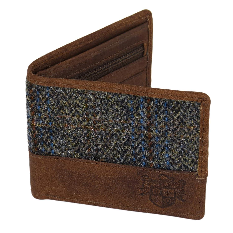 Harris Tweed Beige et bleu Carloway Tartan Portefeuille Mag Mouch Sophos