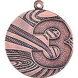 kaufdeinschild 10 Stück Medaille aus Stahl, 40 mm x 2 mm, Zahlen 1,2,3 Gold/Silber/Bronze