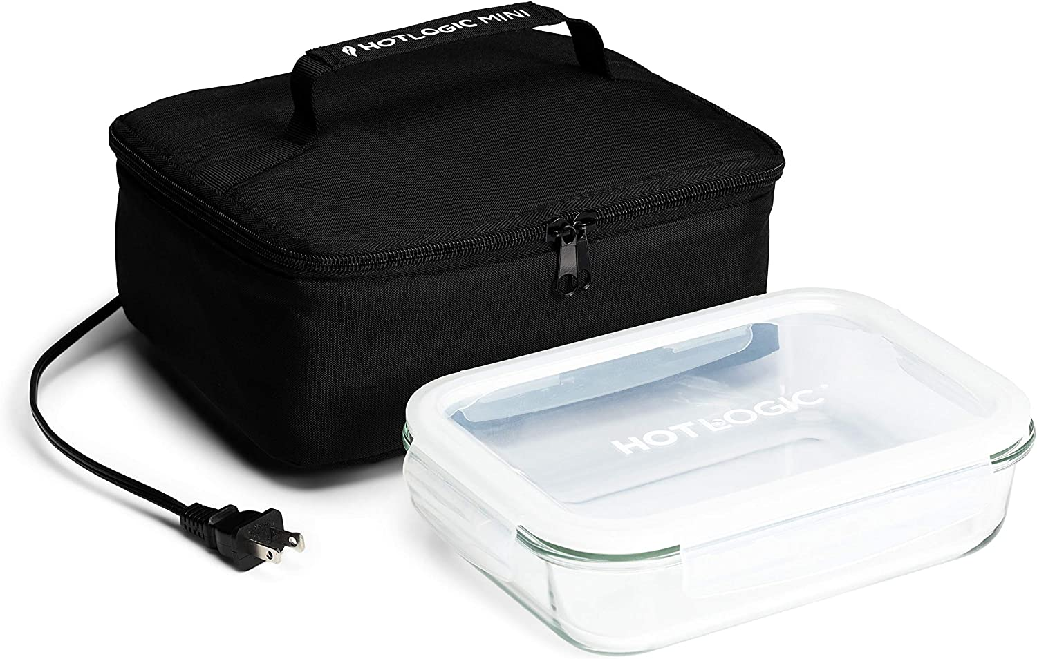 HotLogic 16801155-BLK Food Warming Tote Lunch Bag 120V with Glass Dish, Black