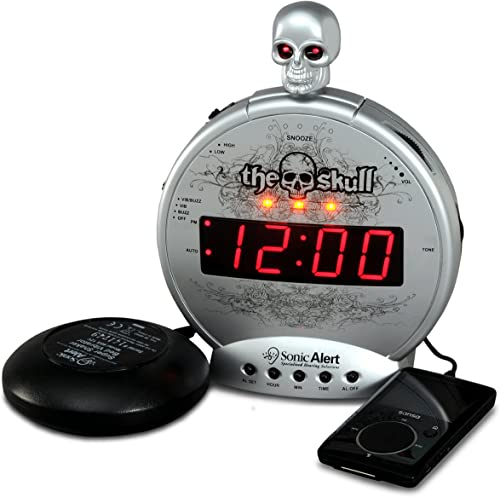 Sonic Alert Skull Clock, Digital Alarm Clock Alarm, Snooze, USB Charger, Simple to Operate, Full Range Brightness Dimmer, Outlet Powered, Big Red Digit Display Silver