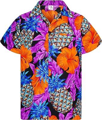 Camisa Hawaiana enrrollada Hombres XS-6XL Manga Corta Bolsillo Frontal Hawaiano-Imprimir Hibisco De Piña