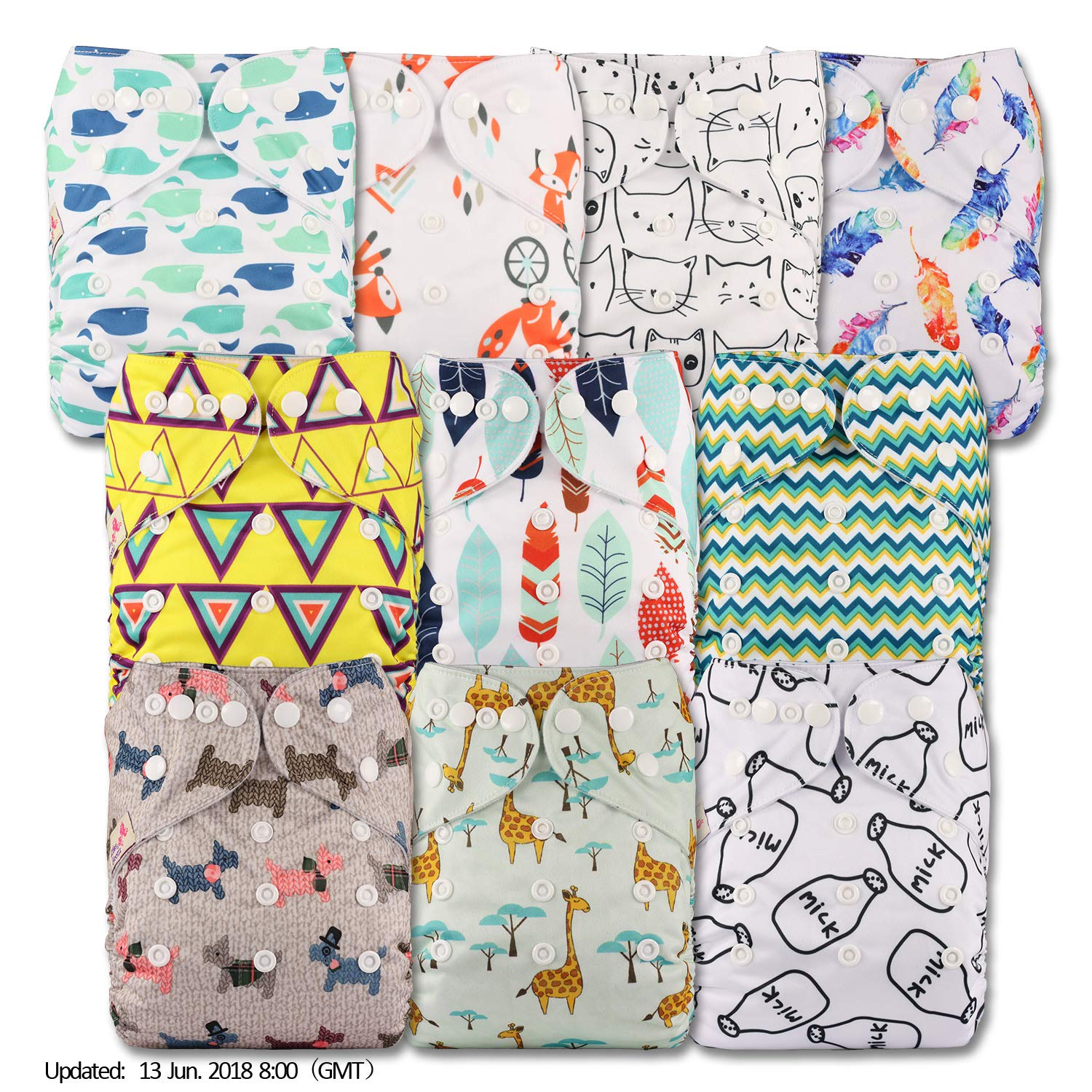Fastener: Popper Pattern 16 Baby Cloth Washable Reusable Nappy Pocket Diaper Bamboo Littles /& Bloomz Without Insert
