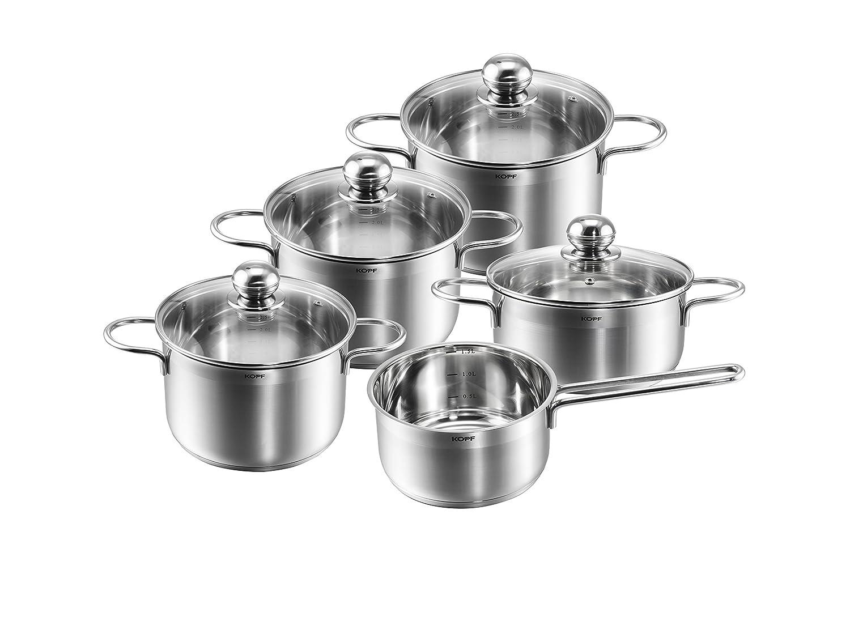 Kopf Josie Cookware Set, Stainless Steel, 5-Piece + 4 Glass Lids