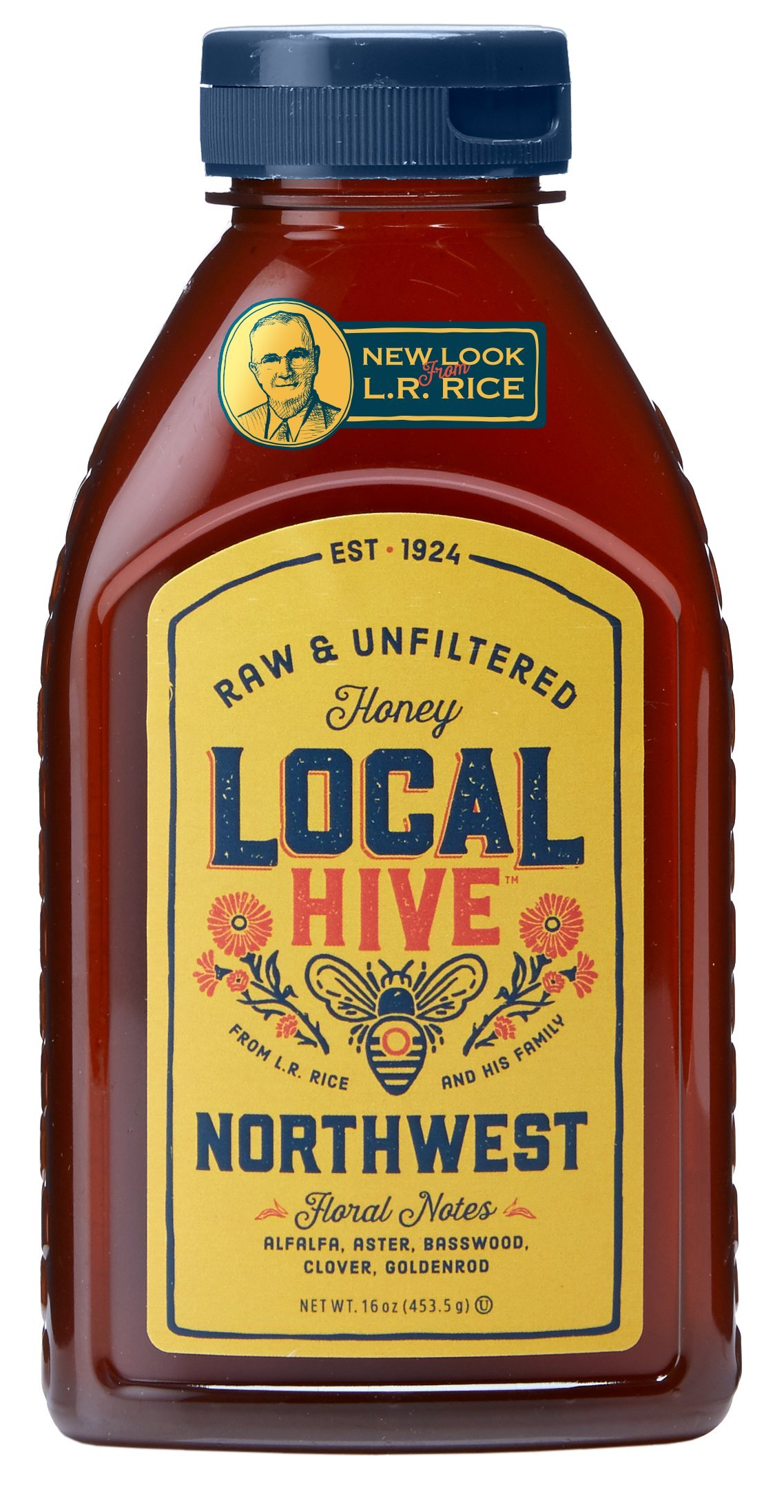 L.R. Rice 100% Pure Honey Raw & Unfiltered, Local Northwest, 16oz