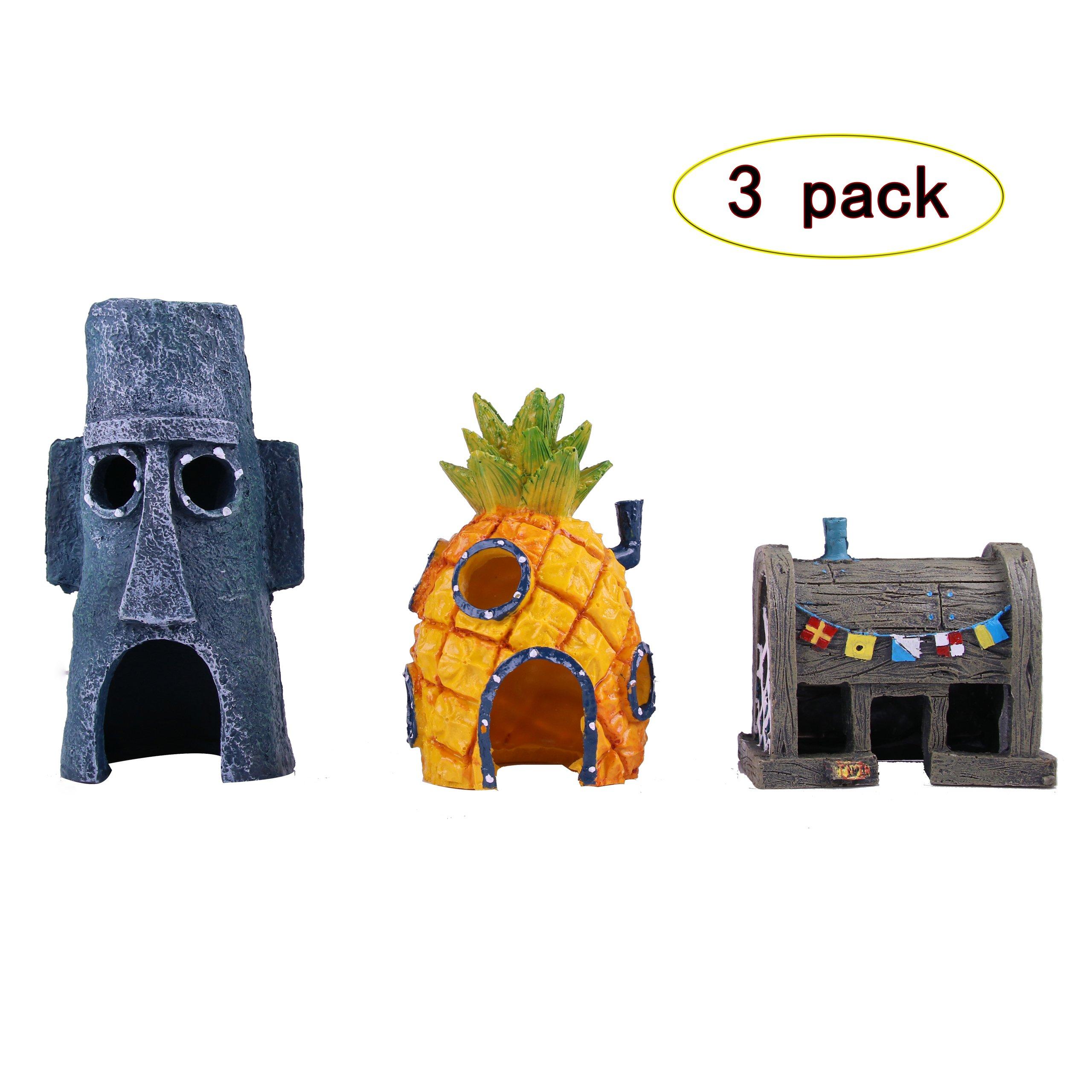 Magic Design Penn-Plax SpongeBob Aquarium Decoration Durable Resin pack of 3 - Pineapple House, Easter Island Home and Krusty Krab Ornament Pack